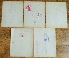 5 - 1930's Vintage Fashion Design Original Art Color Drawings