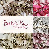 Berties Bows Leopard Print 16mm Grosgrain Ribbon - 5 Colours - 1m & 2m - 3 FOR 2