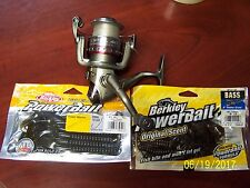 QUANTUM SPINNING REEL AND BERKLEY POWERBAIT GREEN PUMPKIN CRAW AND POWER WORM