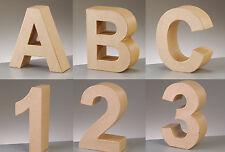 PappArt-Buchstaben und Zahlen H 10 x T 3cm aus Pappmaché für Decopatch Pappe