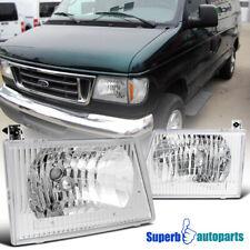 For 1992-2006 Ford E150 E250 E350 E450 Econoline Van Headlights Lamps