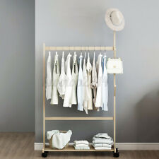 39inch Wood Heavy Duty Garment Clothes Hanging Rack Shelf Coat Stand with Wheels