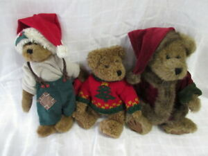 """Vintage Boyd's Bear Lot #5: 3 Holiday Bears, 9"""" to 10.5"""", 1990-2000, Ex!"""
