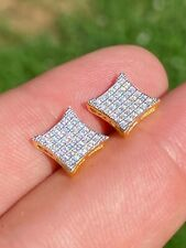 14k Gold Over Real 925 Sterling Silver Iced Diamond Square Kite Earrings Aretes