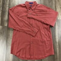 PENDLETON Mens Long Sleeve 100% Cotton Shirt button-down red plaid SZ Large