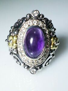 Barbara Bixby Nirvana Amethyst White Topaz Sterling Silver 18k Gold Ring 9