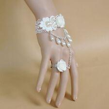 Princess White Rose Jewelry Accessories Wedding Bridal Charm Bracelet Chain