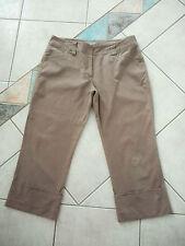 Ladies light brown 3/4 pants Jacqui E Size 12 wide cuff bottom cotton elastane