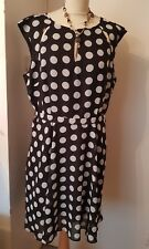 Wallis lined chiffon/sheer black and white spotted skater/flare dress size 18