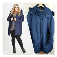 [ AUTOGRAPH ] Womens Blue Hooded Winter Puffer Quilted Jacket  | Size AU 26