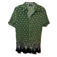 Apt 9 Womens Size 1X Pleated Blouse Button Front Short Sleeve Green