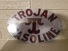 """""""Trojan Gasoline"""" Logo Heavy Steel Sign New 14"""" x 9"""" Oval Heavy Steel"""