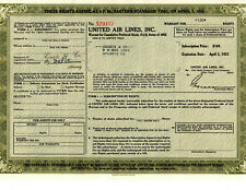 Rare Vintage United Airlines Inc Stock Certificate Warrant Options from 1952
