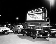1948 Drive In Cars Entering below Marque Yellow Sky Feature  8 x 10 Photograph
