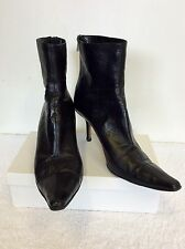 JIMMY CHOO BLACK LEATHER ANKLE BOOTS SIZE 8/41.5
