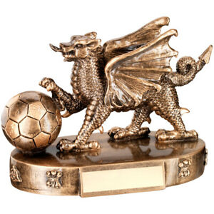 BRZ/GOLD WELSH DRAGON WITH FOOTBALL TROPHY - 4.25in FREE ENGRAVING
