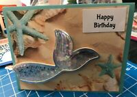 Birthday Card Magical Shaker Mermaids Tail Sparkles Glitter Beach Sand Handmade