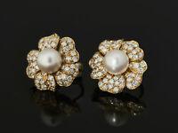 vornehm elegante Blüten Ohrclips - imposante 2,00ct Brillanten - Perlen Gold 750
