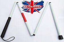 White Visually Impaired Walking Stick Easy Folding Crutch Aluminium Cane Blind