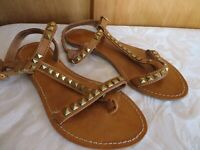 Lilley &Skinner womens gladiator sandals size  3 36 brown studs leather soles