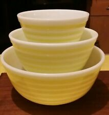 HTF Vintage Pyrex Yellow Stripes Mixing Bowl Set Great Condition