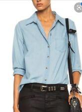 Equipment Femme Brett Chambray Cotton Button Up Shirt Top Med