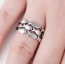 Fine Silver Fish Ring School Sterling Christian Fish Ring Adjustable Wrap SZ 6
