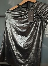 A|X ARMANI EXCHANGE Women's Top Metallic One Shoulder Stretch Size XS