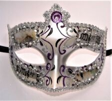 MASQUERADE UNISEX JEWELLED HALF MASKS WITH VENICE PICTURES & MUSIC NOTES NEW