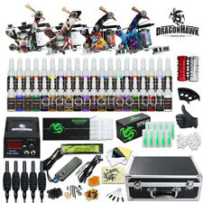Beginner Complete Tattoo Kit 4 Machine Power Supply Set Grip 40 Color Ink Needl1