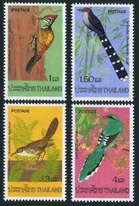 Thailand 784-787,hinged.Mi 805-808. Birds 1976:Woodpecker,Malcoha,Green Magpie