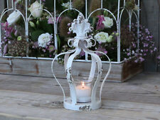 Chic Antique Windlicht Krone Lilie weiß metall Landhaus Vintage cottage shabby