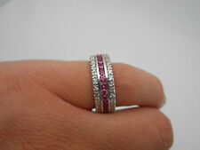 Stunning Vintage 18k White Gold Diamond Pink Sapphire Eternity Band Ring Sz 7.25