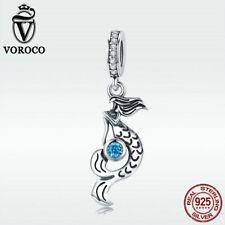 Voroco 925 Sterling Silver Charm Bead Mermaid Pendant Blue CZ For Women Bracelet