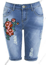 NEW Womens Denim Blue Shorts Flower Turn Up Pedel Pusher Size 6 8 10 12 14