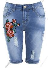 Mujer Denim Azul Pantalones cortos Flor Con vuelta Pedal Pusher Talla 6 8 10 12