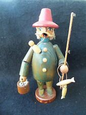 Vintage Erzgebirgische Fisherman Smoker Incense Burner!  GDR!  WOOD! PIPE! STRAW