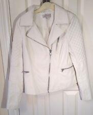 M&S WHITE Faux Leather PU Vegan BIKER JACKET S uk6us2eu32 Chest c35ins c89cm