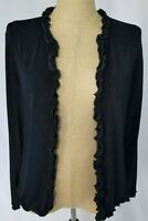 Chicos Travelers Cardigan Sweater Size 2  Black Ruffles Open Front Long Sleeve