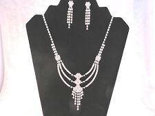 Silver Plated Rhinestone Bridal Looped Adjustable Necklace & Earrings Set