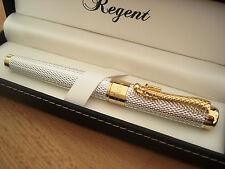 Stylo Roller,REGENT,homme,argente,recharge,ecrin,bagues dorees, luxe pas cher