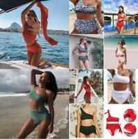 Women Strappy Bikini Set Two Piece Swimwear High Waist Swimsuit Beach Bathing