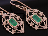 E069 Genuine 9ct Rose Gold NATURAL Emerald Drop Earrings Filigree ornate Drops