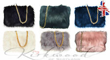 NEW Ladies Designer Fluffy Feather Clutch Faux Fur Bag Purse With Chain Runway