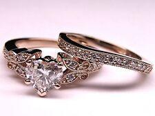 14k Solid Rose Gold 2.50 Ct Heart Shape Diamond Engagement Wedding Ring Set