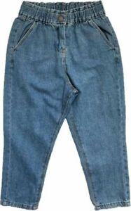 Girls NEXT Blue Elasticated Waist 100% Cotton MOM Denim Children Jeans SZ 3-15y