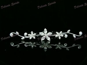 Wedding Bridal Tiara Comb Silver Swarovski Rhinestone Elements In Floral Design