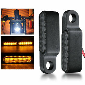 2X LED Blinker Lenkerarmatur Miniblinker schwarz getönt Für Harley Universal #D