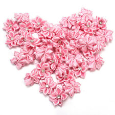 40Pcs Satin Ribbon Flowers Appliques Craft Wedding Party Sewing DIY Decor Pink
