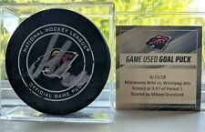 Mikael Granlund Minnesota Wild Game Used 2018 Playoff Goal Puck Autograph v Jets